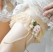 Свадебный салон ручной работы. Ярмарка Мастеров - ручная работа Подвязка для невесты, подвязка в стиле рустик, подвязка винтаж. Handmade.