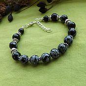 Украшения handmade. Livemaster - original item Bracelet with snow obsidian. Handmade.