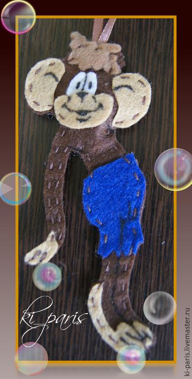 """Сказочные персонажи ручной работы. Ярмарка Мастеров - ручная работа. Купить Обезьяна-""""По дороге с облаками"""". Handmade. Разноцветный, фетр"""