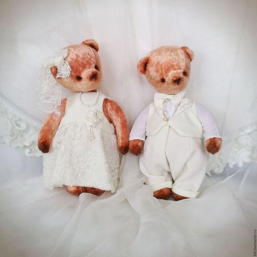 Мишки Тедди ручной работы. Ярмарка Мастеров - ручная работа. Купить Жених и невеста мишки тедди. Handmade. Белый, тедди