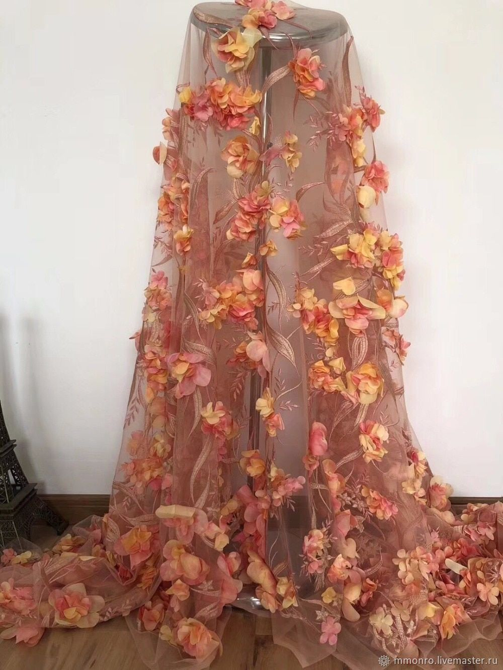 Sewing handmade. Livemaster - handmade. Buy In stock! Prom! Luxury 3D fabric, Pink peach.Lace, combo