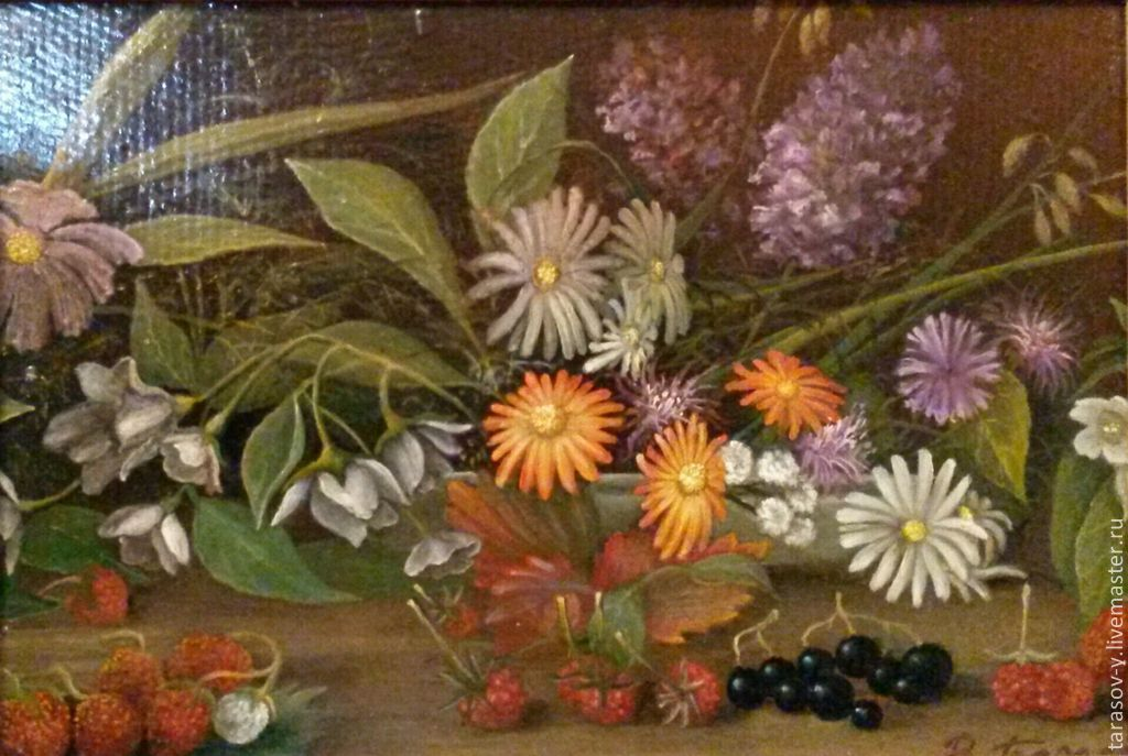 Author's painting still life with garden flowers and berries, Pictures, Moscow,  Фото №1