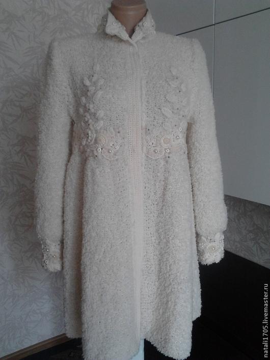 """Верхняя одежда ручной работы. Ярмарка Мастеров - ручная работа. Купить Пальто """"Ванильный зефир"""" с отделкой фриформ. Handmade. Разноцветный"""