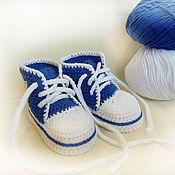 Работы для детей, ручной работы. Ярмарка Мастеров - ручная работа Пинетки кеды, пинетки вязаные, пинетки купить, синий. Handmade.