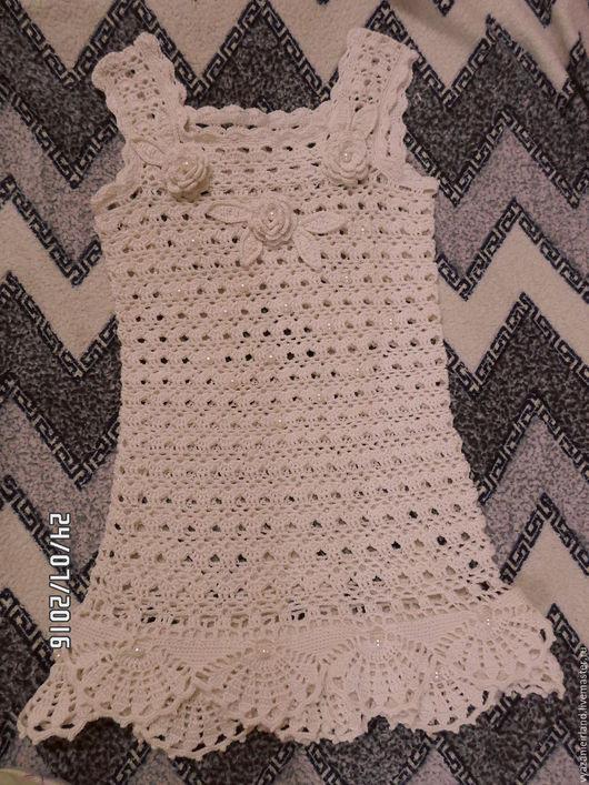 Платья ручной работы. Ярмарка Мастеров - ручная работа. Купить Вязаное платье для девочки. Handmade. Вязание крючком, бежевый, нитки