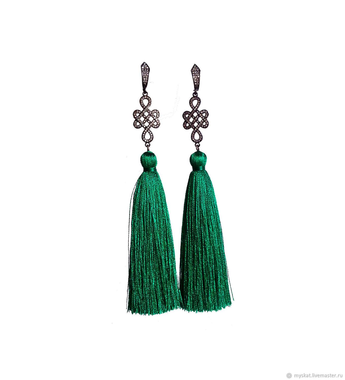 Earrings tassels Emerald, Tassel earrings, Moscow,  Фото №1