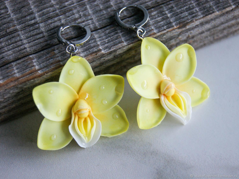 Yellow orchid earrings, polymer clay, Earrings, Nizhny Novgorod,  Фото №1