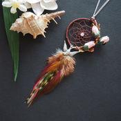 Весеннее пробуждение - коричевый кулон ловец снов с перьями в бохо