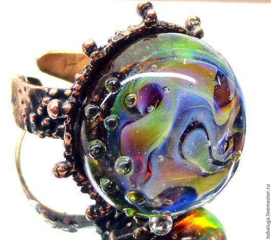 Кольца ручной работы. Ярмарка Мастеров - ручная работа. Купить Кольцо После дождя лэмпворк. Handmade. Разноцветный, кольцо лэмпворк