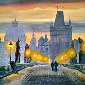 Картины и панно handmade. Livemaster - original item Oil painting Evening Prague. Charles bridge. The urban landscape. Handmade.