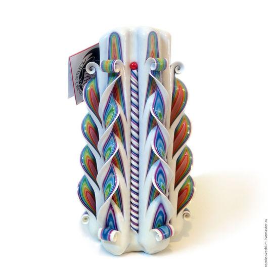 Свечи ручной работы. Ярмарка Мастеров - ручная работа. Купить Резная свеча Радуга на белом (арт.301). Handmade.
