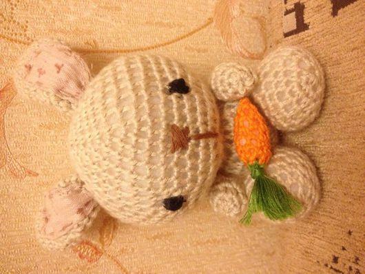 """Игрушки животные, ручной работы. Ярмарка Мастеров - ручная работа. Купить """"Зайчонок с морковкой"""" ( техника Ами - гуруми ). Handmade."""