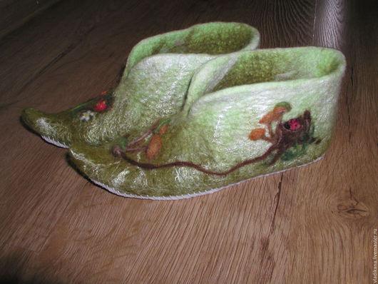 эльфийские башмачки, валяная обувь, шерсть, грибочки