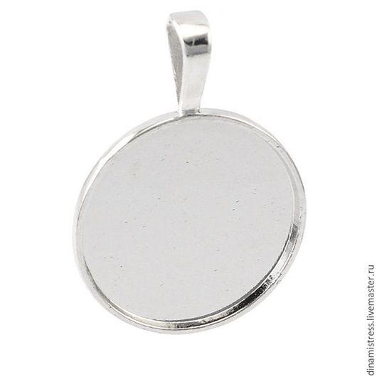 Для украшений ручной работы. Ярмарка Мастеров - ручная работа. Купить Кулон-основа 25/25 мм. Под серебро. Handmade.