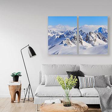 Картины и панно ручной работы. Ярмарка Мастеров - ручная работа Картина на холсте Снежные горы. Handmade.