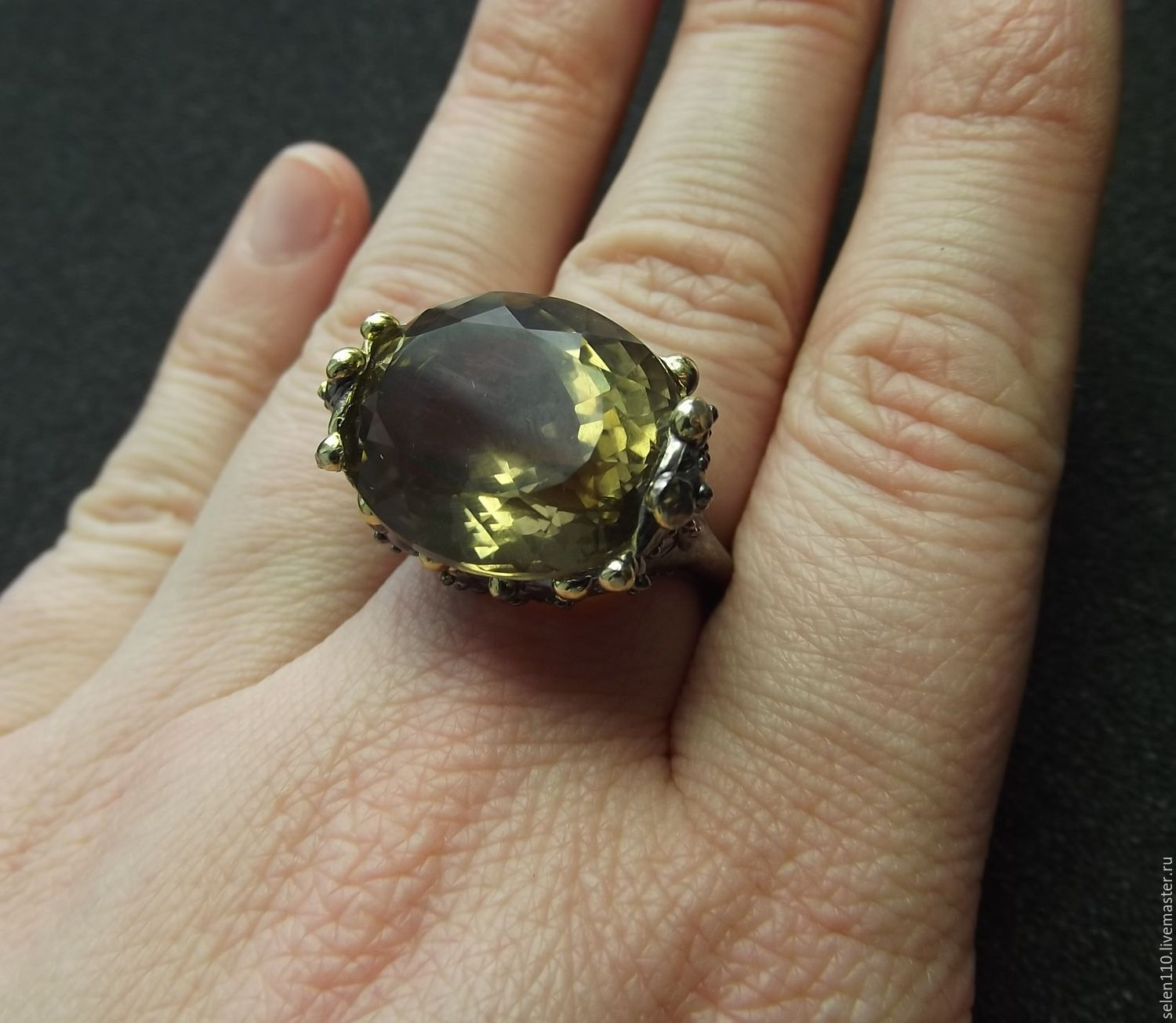 18 R-R-Ring 'Madeleine' with Topaz, silver, Rings, Voronezh,  Фото №1