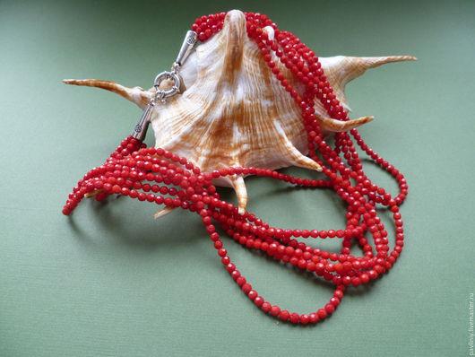 Колье, бусы ручной работы. Ярмарка Мастеров - ручная работа. Купить Ожерелье из Красного Коралла многорядный (4). Handmade. Коралл