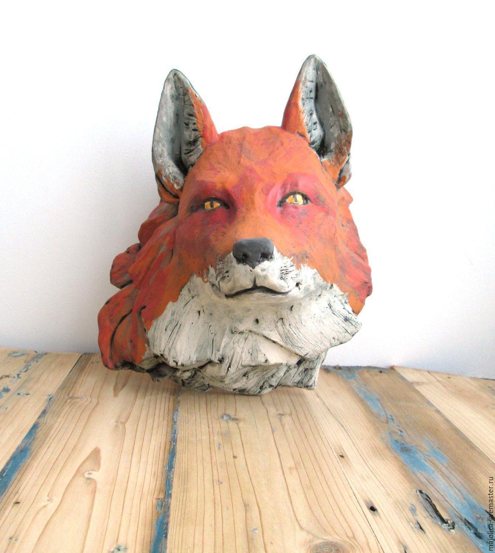 """Интерьерные  маски ручной работы. Ярмарка Мастеров - ручная работа. Купить Интерьерная маска """"Лис"""", керамика. Handmade. Лиса, ангобы"""