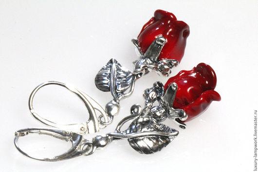 Серьги ручной работы. Ярмарка Мастеров - ручная работа. Купить Серьги серебряные алые розы, подарок любимой на 8 марта. Handmade.