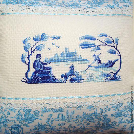 """Текстиль, ковры ручной работы. Ярмарка Мастеров - ручная работа. Купить Подушка с вышивкой в стиле """"Туаль де жуи"""". Handmade."""