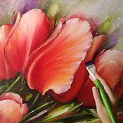 Картины и панно handmade. Livemaster - original item Oil painting Red tulips. Handmade.