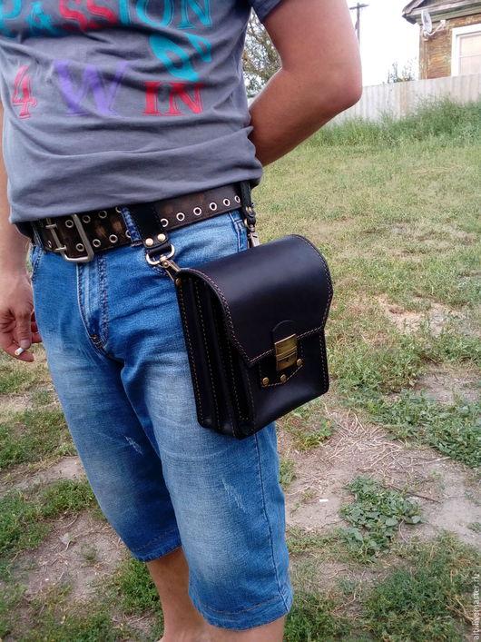 Мужские сумки ручной работы. Ярмарка Мастеров - ручная работа. Купить Мужская сумка из натуральной кожи № 1. Handmade.