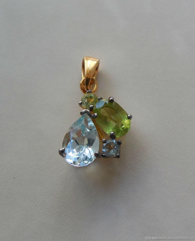 Gold plated pendant with chrysolite and Topaz, Pendants, Pyatigorsk,  Фото №1