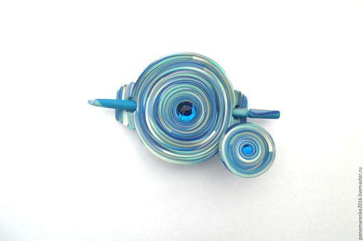фибула купить, заколка для шали, заколка с палочкой, морской, оттенки голубого, голубой