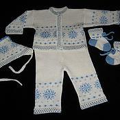 Работы для детей, ручной работы. Ярмарка Мастеров - ручная работа Комплект для новорожденных Снежинка. Handmade.
