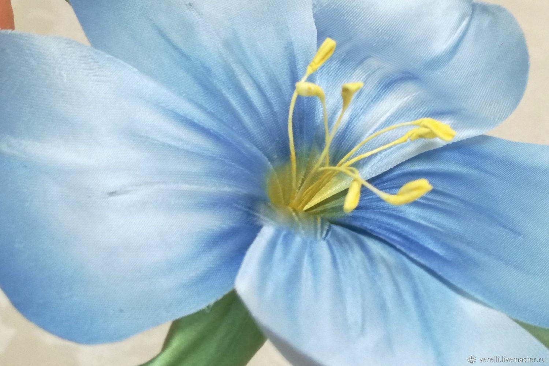 Цветы из ткани. Лен голубой из шелка, Брошь-булавка, Москва,  Фото №1