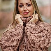 Одежда handmade. Livemaster - original item Jerseys: Women`s large knit cappuccino sweater with braids oversize. Handmade.