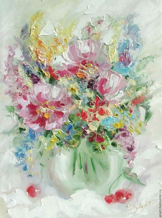 """Картины цветов ручной работы. Ярмарка Мастеров - ручная работа. Купить Картина """"Букет с вишнями"""" холст, масло 37,5 х 27, 5 см.. Handmade."""
