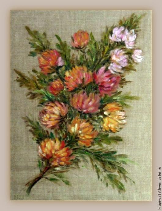 """Пейзаж ручной работы. Ярмарка Мастеров - ручная работа. Купить """"Цветочная фантазия"""". Handmade. Фотокартина, разноцветный, цветы, рисунок на ткани"""