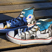 """Обувь ручной работы. Ярмарка Мастеров - ручная работа Кеды """"Белый город"""" кеды Конверс Converse с росписью. Роспись кед. Handmade."""