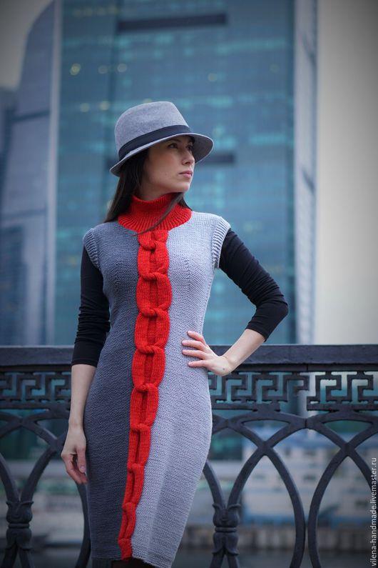 Платья ручной работы. Ярмарка Мастеров - ручная работа. Купить Серое платье с красным акцентом. Handmade. Темно-серый, красный