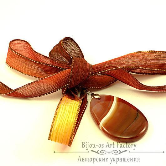 Кулон подвеска агата рыжий коричневый кулон шелковая лента подарок дочери кулон подвеска подарок маме свекров бусы серьги кулон подвеска агата подвеска кулон агата подарок любимой учител золотой