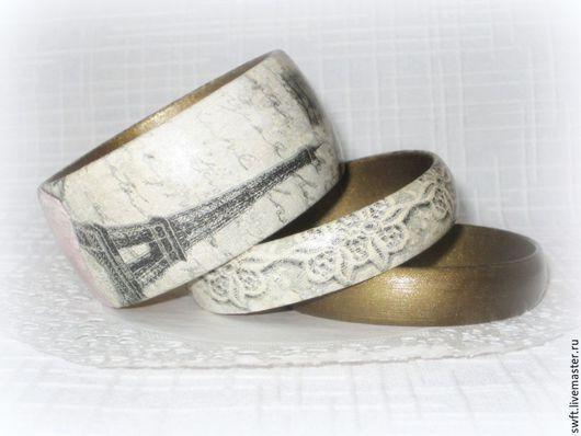 комплект браслетов оливковый винтажный стиль романтичный женский недорогой деревянный браслет Париж Франция подарок что подарить девушке женщине сестре подруге маме жене на 8 марта день