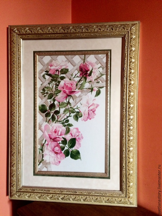 Картины цветов ручной работы. Ярмарка Мастеров - ручная работа. Купить Fleur de Charme. Handmade. Розовый, Вышивка крестом