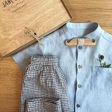 Одежда ручной работы. Ярмарка Мастеров - ручная работа Льняная рубашка со стойкой для мальчика. Handmade.