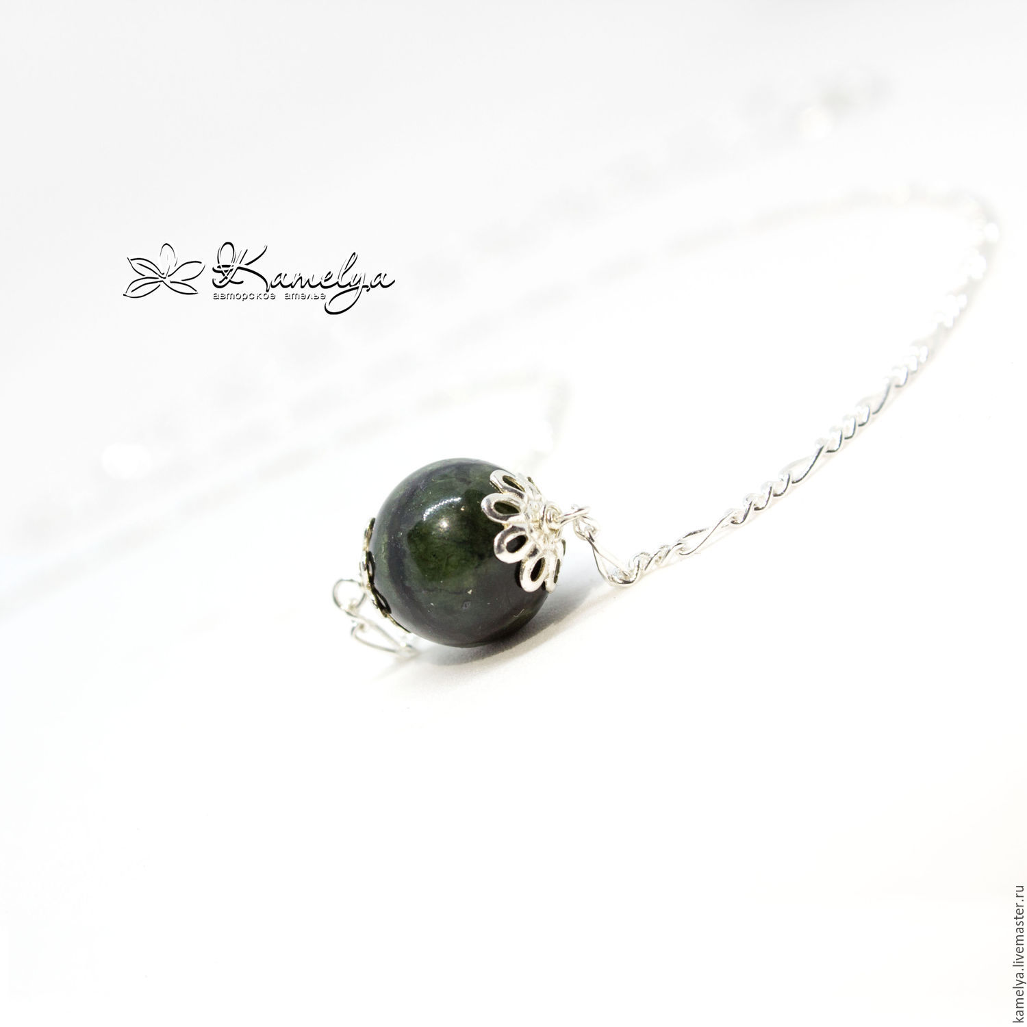 Mini necklace with baikal jade memory 925 sterling silver shop pendants handmade livemaster handmade buy mini necklace with baikal jade memory aloadofball Image collections