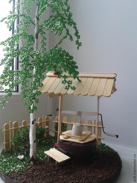 Деревья ручной работы. Ярмарка Мастеров - ручная работа. Купить Колодец. Handmade. Разноцветный, береза из бисера, колодец, береза, дерево