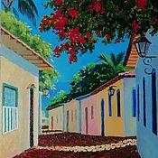 """Картины ручной работы. Ярмарка Мастеров - ручная работа """"Солнечный лучик"""" греческий пейзаж с  цветущими деревьями. Handmade."""