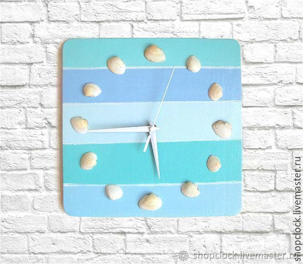 Marine-style wall clock with shells, Watch, Novosibirsk,  Фото №1