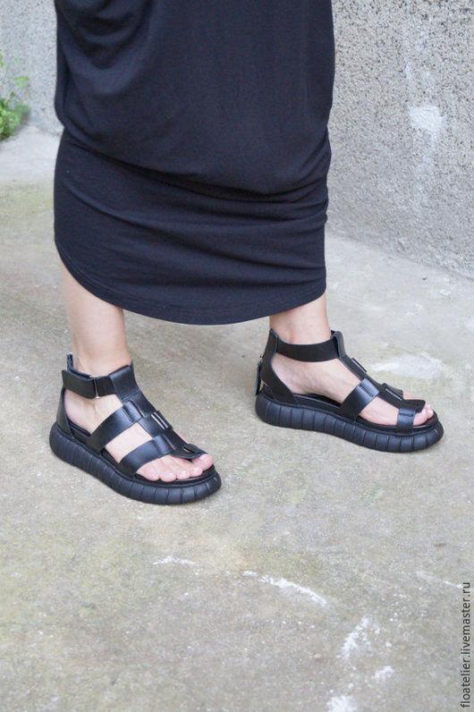 Обувь ручной работы. Ярмарка Мастеров - ручная работа. Купить Сандалии из натуральной кожи/Экстравагантные сандалии/F1430. Handmade. Черный, модная одежда