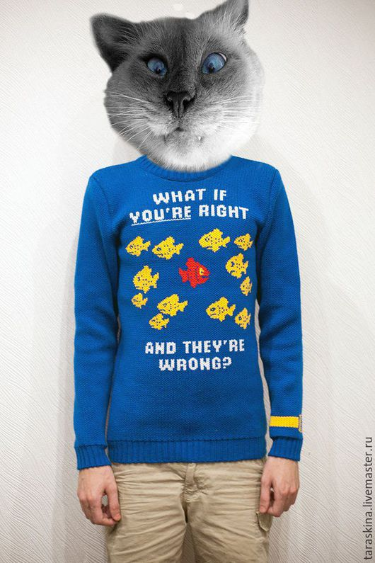 """Кофты и свитера ручной работы. Ярмарка Мастеров - ручная работа. Купить Свитер """"Фарго""""(""""Что если ты прав, а они ошибаются?""""). Handmade."""