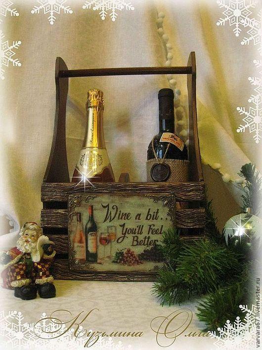"""Корзины, коробы ручной работы. Ярмарка Мастеров - ручная работа. Купить короб для вина, шампанского """" желаю счастья"""". Handmade."""