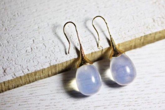 Серьги ручной работы. Ярмарка Мастеров - ручная работа. Купить Серьги-желуди с натуральным лунным камнем в серебре или позолоте. Handmade.