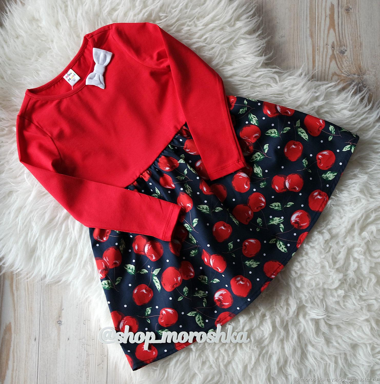 Платье для девочки красное с черешней, Одежда, Санкт-Петербург,  Фото №1