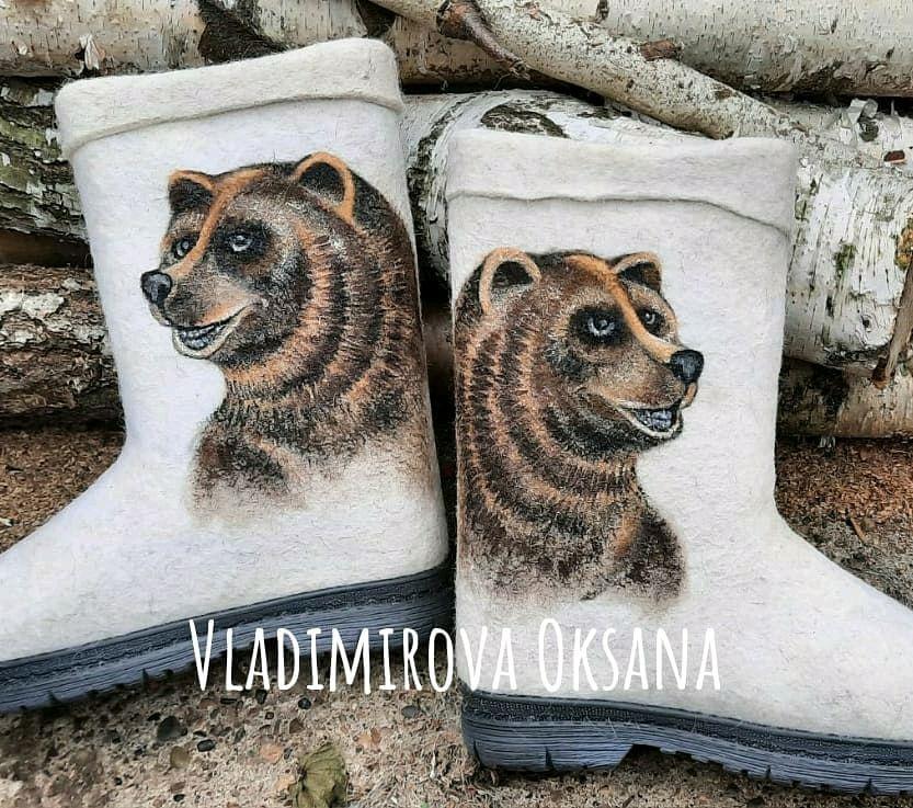 Valenki men's 'bear', for men, for hunting, Felt boots, Cheboksary,  Фото №1