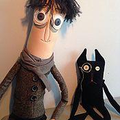 Куклы и игрушки ручной работы. Ярмарка Мастеров - ручная работа Человек и кошка. Handmade.